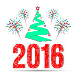 Ano novo feliz com fogos-de-artifício Ilustração de papel do vetor Imagem de Stock