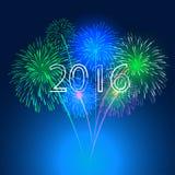 Ano novo feliz 2016 com fundo do feriado dos fogos-de-artifício Fotografia de Stock Royalty Free