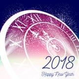 Ano novo feliz 2018 com fundo do fogo de artifício Ilustração Royalty Free