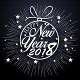 Ano novo feliz 2018 com fundo dos fogos-de-artifício Ilustração Stock