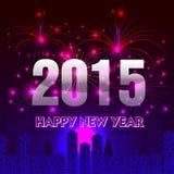 Ano novo feliz 2015 com fundo dos fogos-de-artifício Imagens de Stock Royalty Free