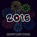 Ano novo feliz 2016 com fundo dos fogos-de-artifício Fotos de Stock Royalty Free