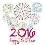 Ano novo feliz 2016 com fundo dos fogos-de-artifício Fotografia de Stock Royalty Free