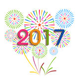 Ano novo feliz 2017 com fundo dos fogos-de-artifício Foto de Stock