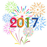 Ano novo feliz 2017 com fundo dos fogos-de-artifício Fotos de Stock Royalty Free