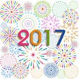 Ano novo feliz 2017 com fundo dos fogos-de-artifício Fotografia de Stock Royalty Free