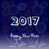 Ano novo feliz 2017 com fundo dos fogos-de-artifício Foto de Stock Royalty Free