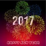Ano novo feliz 2017 com fundo dos fogos-de-artifício Imagem de Stock