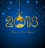 Ano novo feliz 2018 com números dourados Ilustração Stock