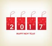 Ano novo feliz 2017 com ornamento da bola Fotos de Stock Royalty Free