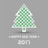 Ano novo feliz 2017 com árvore de Natal Fotos de Stock Royalty Free