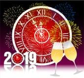Ano novo feliz 2019 com vidros do champanhe Fotos de Stock
