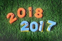 Ano novo feliz, conceito da natureza e ideia colorida do número Imagens de Stock Royalty Free
