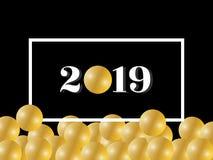 Ano novo feliz 2019 Cumprimentando o texto no quadro com o balão/pérola brilhantes do ouro ilustração do vetor