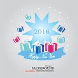 Ano novo feliz 2016 Cumprimento do ano novo feliz com caixa de presente Vect Imagem de Stock Royalty Free