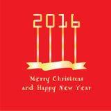 Ano novo feliz 2016 Cumprimento do ano novo feliz com número 2016 Imagem de Stock