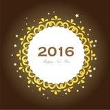 Ano novo feliz 2016 Cumprimento do ano novo feliz com o quadro da flor Imagens de Stock Royalty Free