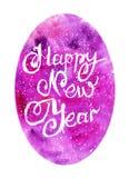 Ano novo feliz da aquarela Fotografia de Stock