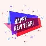 Ano novo feliz da bandeira colorida geométrica, bolha do discurso para a GR Imagens de Stock Royalty Free