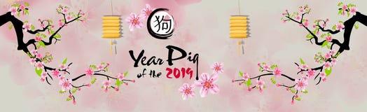 Ano novo feliz 2019 da bandeira Ano novo de Chienese, ano do porco Fundo da flor de cereja ilustração royalty free