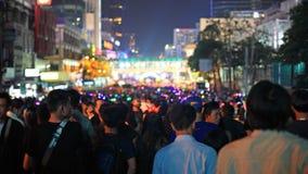 Ano novo feliz da contagem regressiva dos povos em Banguecoque Fotografia de Stock
