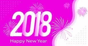 Ano novo feliz 2018 da cor cor-de-rosa Fotografia de Stock Royalty Free