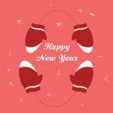 Ano novo feliz da inscrição dos mitenes Fotografia de Stock