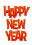Ano novo feliz da rotulação vermelha doce em um fundo branco Fotografia de Stock Royalty Free