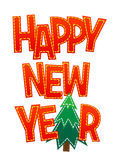 Ano novo feliz da rotulação vermelha doce em um fundo branco Foto de Stock