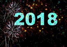 Ano novo feliz de 2018 fogos-de-artifício Imagem de Stock Royalty Free