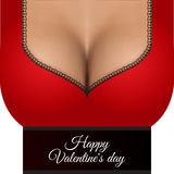 ano novo feliz 2007 Dia do `s do Valentim Peito realístico 'sexy' da mulher ilustração stock