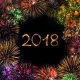 Ano novo feliz 2018 do cartão Imagens de Stock Royalty Free
