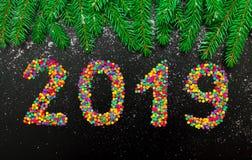 Ano novo feliz 2019 do cartão colorido do feriado foto de stock royalty free