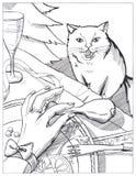 ano novo feliz do cartão, com um gato Foto de Stock