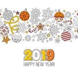 Ano novo feliz 2018 do cartão das felicitações Grinalda que consiste em elementos festivos do Natal imagem de stock royalty free