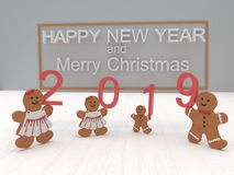 Ano novo feliz 2019 do cartão do feriado com cookies em um backgro branco imagem de stock royalty free