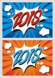 Ano novo feliz 2018 do estilo cômico Foto de Stock