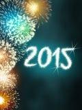 Ano novo feliz do fogo de artifício 2015 Imagens de Stock Royalty Free