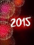 Ano novo feliz do fogo de artifício 2015 Fotografia de Stock