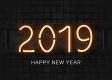 Ano novo feliz do néon 2019 alaranjados ilustração royalty free