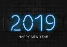 Ano novo feliz do néon 2019 azuis ilustração do vetor