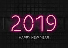 Ano novo feliz do néon 2019 cor-de-rosa ilustração do vetor