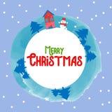 Ano novo feliz do Feliz Natal fundo do cartão de 2018 invernos com desenhos animados bonitos Ilustração do vetor Imagem de Stock