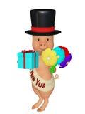 Ano novo feliz do porco bonito dos desenhos animados 3d Imagens de Stock Royalty Free