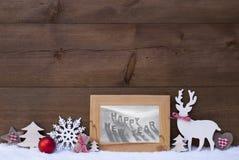 Ano novo feliz do quadro da neve do fundo do Natal Foto de Stock
