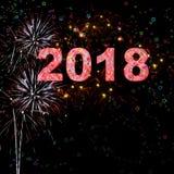 Ano novo feliz 2018 dos fogos-de-artifício Imagem de Stock Royalty Free