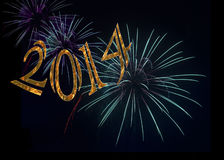 Ano novo feliz 2014 dos fogos-de-artifício Imagem de Stock Royalty Free