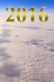 Ano novo feliz dourado 2016 alto acima das nuvens Imagem de Stock Royalty Free