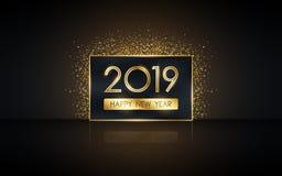 Ano novo feliz dourado 2019 na etiqueta quadrada com brilho da explosão e reflexão no fundo preto da cor ilustração do vetor
