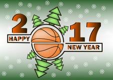 Ano novo feliz e basquetebol Fotografia de Stock Royalty Free